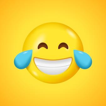 Glimlachende emoticon met tranen van vreugde.