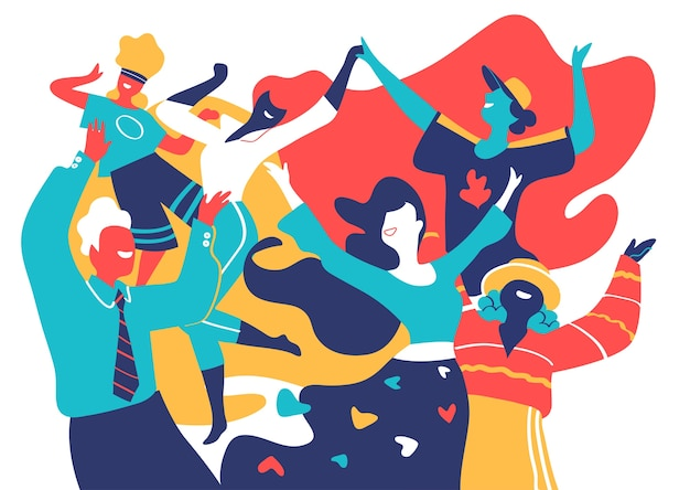Glimlachende en gelukkige mannen en vrouwen dansen en verheugen zich