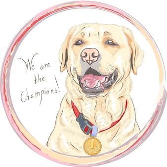 Glimlachende gelukkige gele hond. hondenras labrador retriever-kampioen in het ronde frame. t-shirt afbeeldingen. honden print.