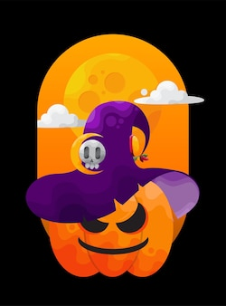 Glimlachende halloween-pompoen met heksenhoed