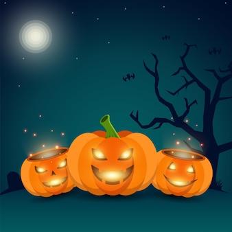Glimlachende halloween-pompoenillustratie als achtergrond gratis vector