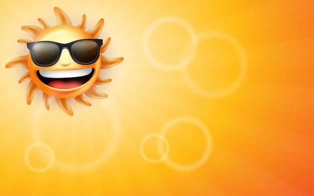 Glimlachende hete gele zon met stralen