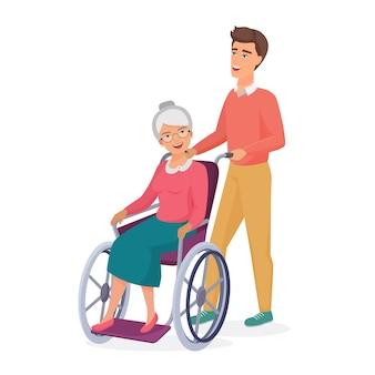 Glimlachende jonge mannelijke mannen zorgt voor bejaarde gehandicapte moeder grootmoeder in rolstoel.