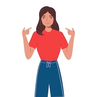 Glimlachende jonge vrouw die op haar zelf met haar vingers toont. meisje wijst op zichzelf met handgebaar. concept van eigenliefde en zelfacceptatie. platte cartoon illustratie