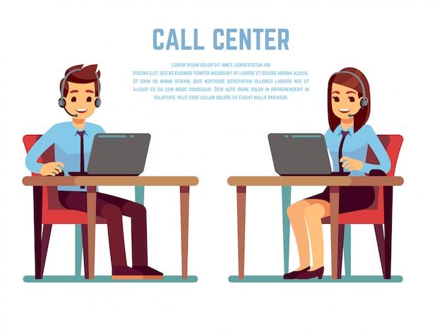 Glimlachende jonge vrouw en man exploitant met hoofdtelefoon die met klant spreekt. stripfiguren voor callcenter