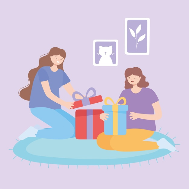 Glimlachende jonge vrouwen die giftdoos op tapijt vectorillustratie openen