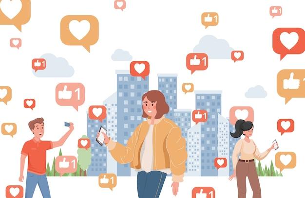 Glimlachende jonge vrouwen en jongen die sociale media vlakke illustratie gebruiken. mensen met smartphones die door de stad lopen, omringd door borden met likes en harten.