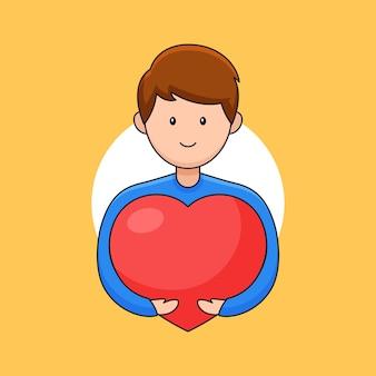 Glimlachende jongeman knuffelen hart voor uitdrukkelijke liefde genegenheid en hart dag viering cartoon overzichtsstijl