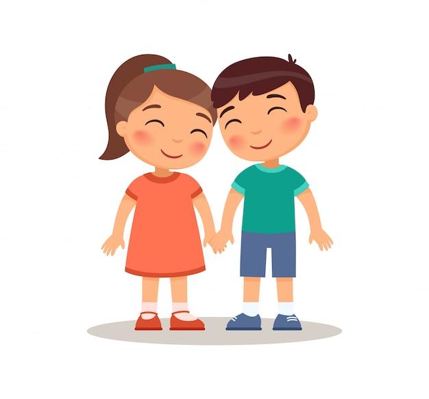 Glimlachende jongen en meisjesjonge geitjes die handen houden. jeugd vriendschap concept. liefde en romantiek. kinderen stripfiguren. platte vectorillustratie, geïsoleerd op een witte achtergrond