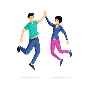 Glimlachende jongeren vlakke illustratie. juich, vreugde, vreugde, geluk, positieve emoties. succesvol team, springende jongen en meisje stripfiguren geïsoleerd op wit