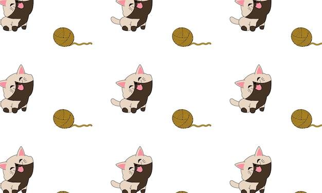 Glimlachende kat en bal van garen naadloos patroon in kinderspelstijl. ontwerp voor je kussen.