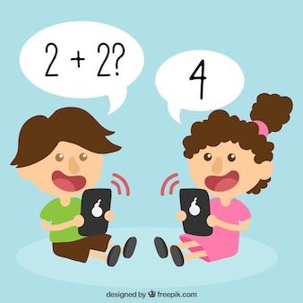 Glimlachende kinderen leren met hun mobiele telefoons