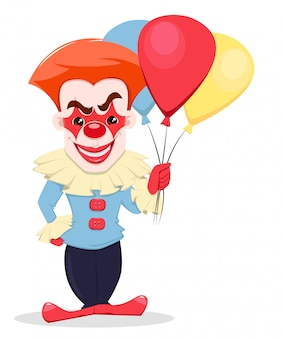 Glimlachende kwade clown met luchtballons.