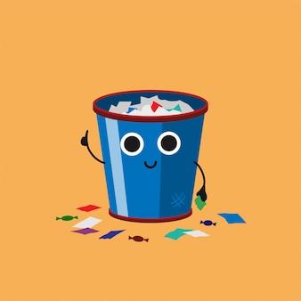 Glimlachende leuke overlopende vuilnisbak met veelkleurig document afval