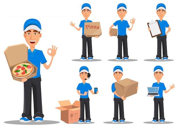 Glimlachende leveringsmens in blauwe eenvormig
