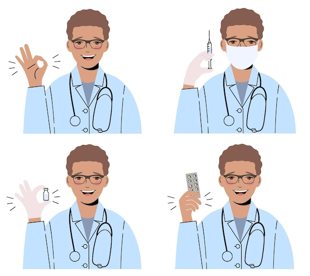Glimlachende mannelijke arts in glazen, in een medische toga met een stethoscoop. reeks illustraties.