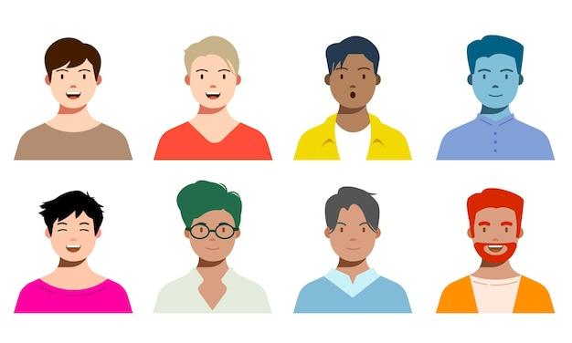 Glimlachende mensen avatar set verschillende mannen en man tekens collectie geïsoleerde vector illustrati