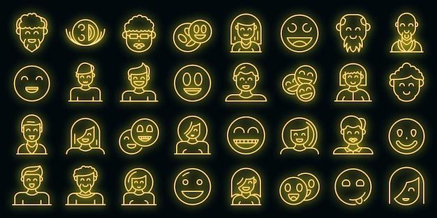 Glimlachende mensen pictogrammen instellen vector neon