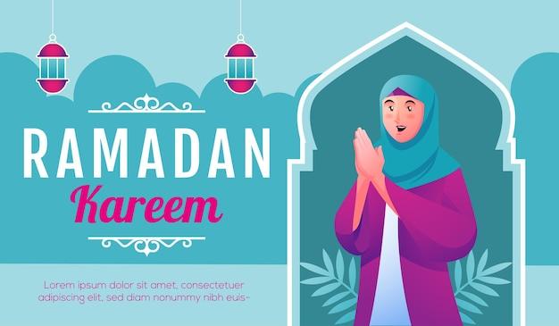 Glimlachende moslimvrouwen die ramadan kareem verwelkomen