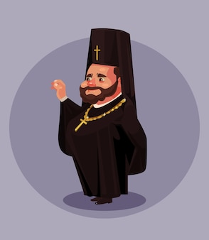 Glimlachende oude baard orthodoxie priester pastoor paus bisschop gekleed in zwart uniform pak. religie .