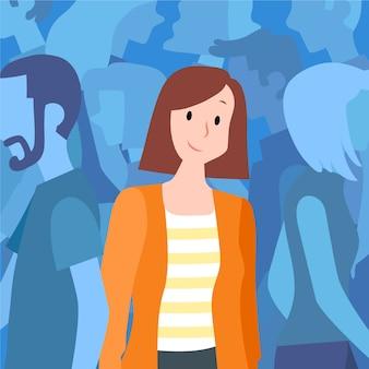 Glimlachende persoon in menigte