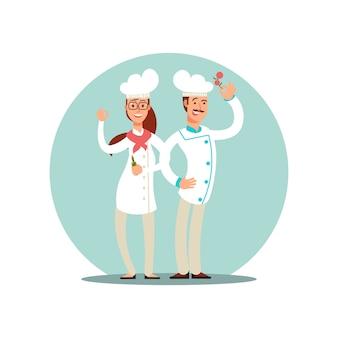 Glimlachende restaurantchef-koks, professionele koks in keuken eenvormige vlakke karakters