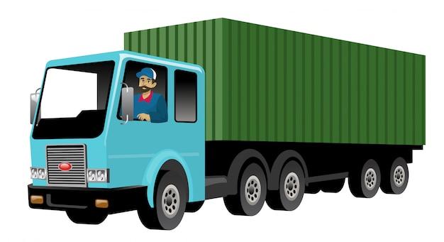 Glimlachende vrachtwagenchauffeur die grote ladingsvrachtwagen drijft