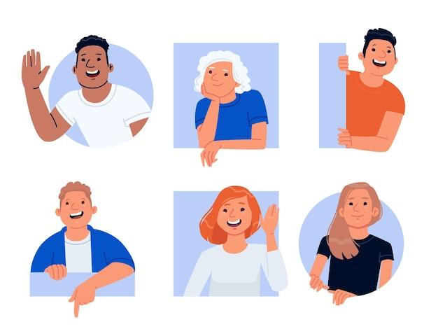 Glimlachende vrolijke nieuwsgierige mensen. set tekens gelukkige mannen en vrouwen gluren en begroeten. vectorillustratie in vlakke stijl