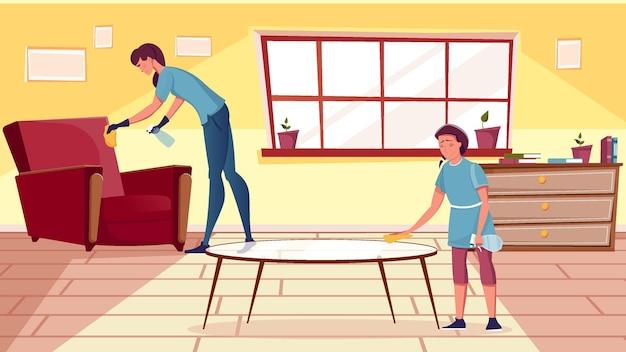 Glimlachende vrouw en meisje die meubels in de woonkamer schoonmaken