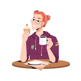 Glimlachende vrouw geniet van bakkerijcake met thee, koffie of cacao geïsoleerd meisje in glazen aan tafel