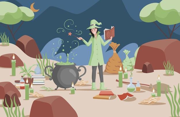 Glimlachende vrouw in heksenhoed en groene jas die magie voorbereidt