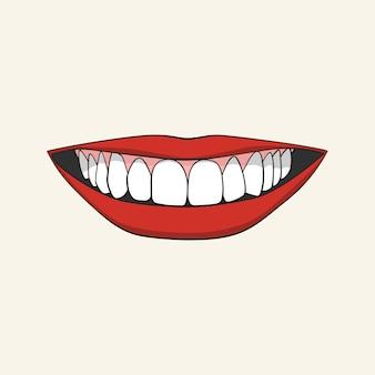 Glimlachende vrouwelijke mond met witte tanden en rode lippen.