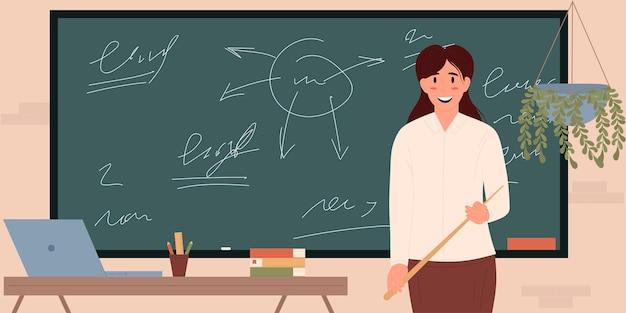Glimlachende vrouwelijke onderwijzeres staat op het bord in de klas vectorillustratieflat
