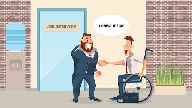 Glimlachende werkgever en gehandicapte pak emloyee shake hand