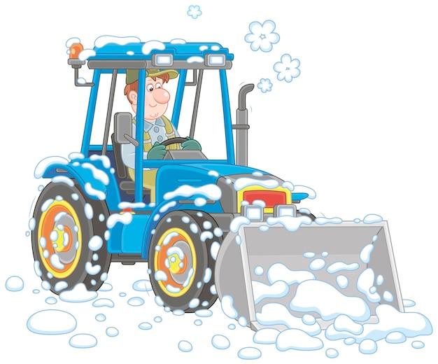 Glimlachende werknemer die zijn tractor op wielen met een emmer drijft en een sneeuwjacht na sneeuwval verwijdert
