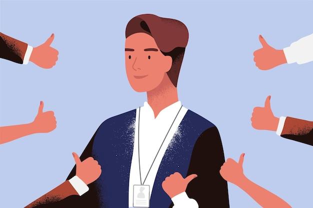 Glimlachende zakenman omringd door handen die duimen aantonen