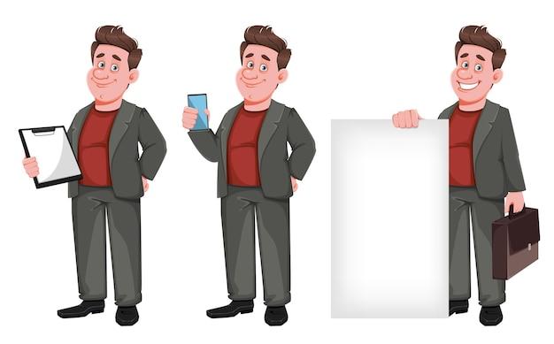 Glimlachende zakenman van middelbare leeftijd, set van drie poses