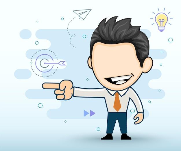 Glimlachende zakenman wijzend in een richting vlakke afbeelding in cartoon-stijl