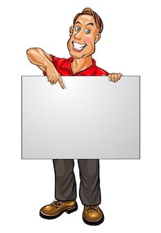 Glimlachende zakenman wijzend op lege banner. vector illustratie