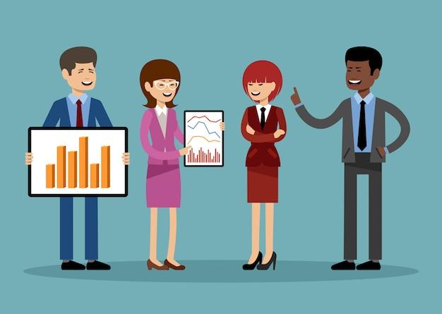 Glimlachende zakenmensen, kantoormedewerkers