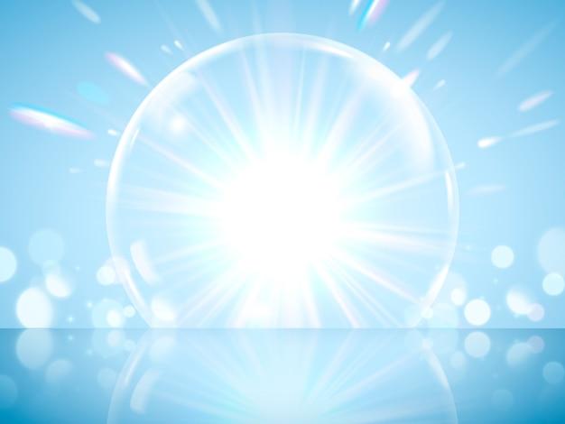 Glinsterende gigantische zeepbeleffect, transparante zeepbel met gloeiende lichten geïsoleerd op blauwe achtergrond in afbeelding