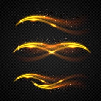Glinsterende golf. vector gouden mousserend op zwarte achtergrond.