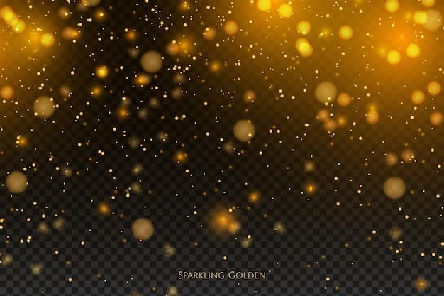 Glinsterende gouden deeltjes