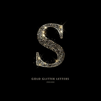 Glinsterende gouden letters op een zwarte achtergrond glanzende letters