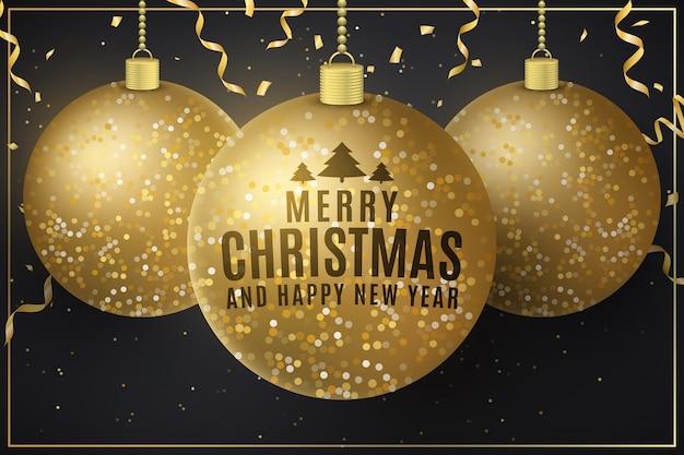 Glinsterende hangende kerstballen met letters en vliegende gouden confetti.