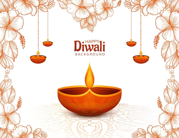 Glinsterende religieuze diwali festival mooie lampen achtergrond