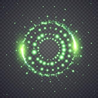Glinsterende ster stof lichten cirkel. illustratie geïsoleerd op de achtergrond. grafisch concept voor uw ontwerp