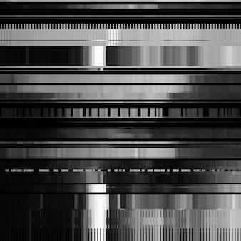 Glitch abstracte achtergrond met vervormingseffect fout willekeurige horizontale zwarte en witte lijnen