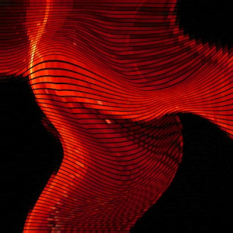 Glitch abstracte achtergrond met vervormingseffect, willekeurige golf rode lijnen