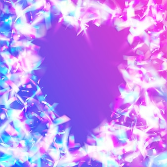 Glitch-achtergrond. carnaval-effect. vakantie kunst. retro-element. disco carnaval-sjabloon. regenboog klatergoud. roze laserglitter. surrealistische folie. violette glitch-achtergrond
